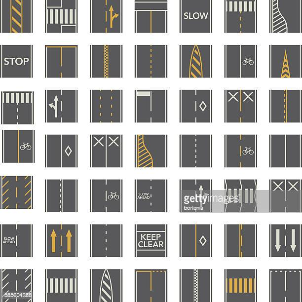 seamless road construction tiles kit - overhead perspective - road marking stock illustrations