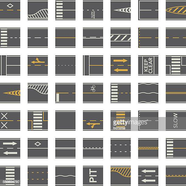 seamless road construction tiles kit - overhead perspective - turn signal stock illustrations, clip art, cartoons, & icons