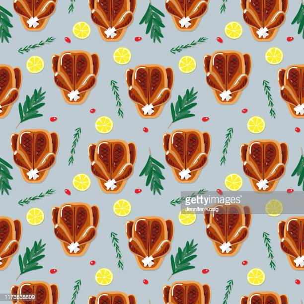 ilustraciones, imágenes clip art, dibujos animados e iconos de stock de patrón de ilustración de cena tostada sin costuras - pollo asado