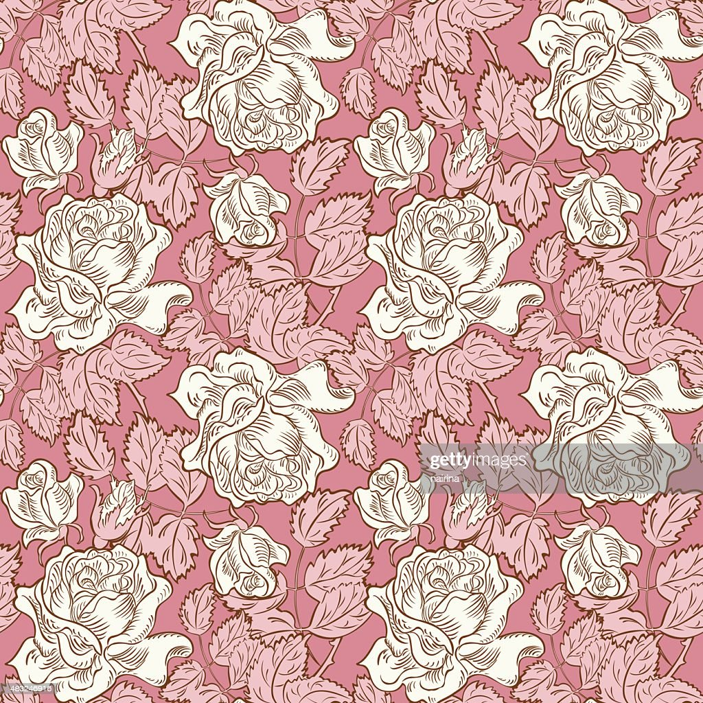 Seamless Rose Floral Background High Res Vector Graphic Getty Images