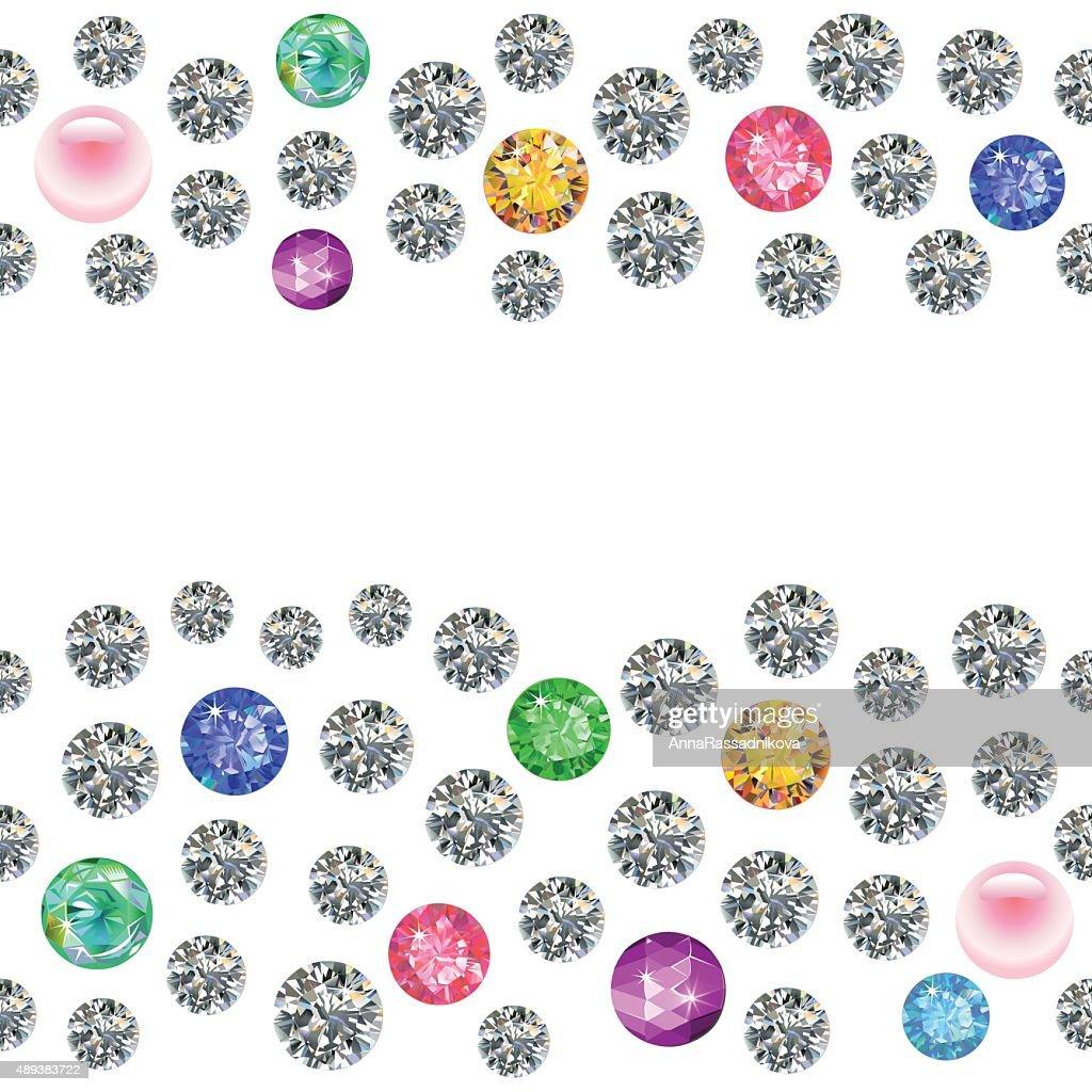 Seamless scattered borders of gems, rhinestones