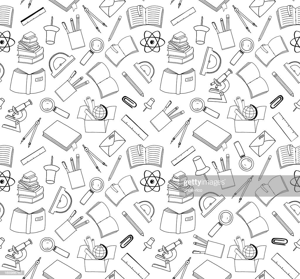 seamless school stuff doodle background