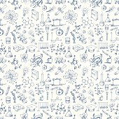 Seamless Science Symbols Pattern