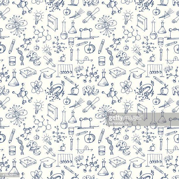 seamless science symbols pattern - physics stock illustrations