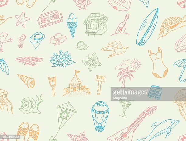 illustrations, cliparts, dessins animés et icônes de seamless sea doodles - escargot