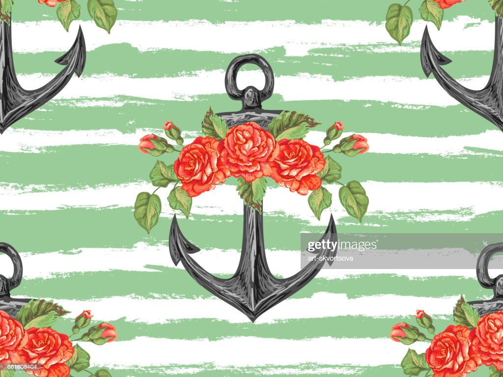 Seamless Sea Pattern With Anchor Roses Leaves Rose Summer Floral
