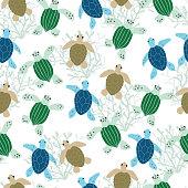 Seamless sea turtle pattern background.