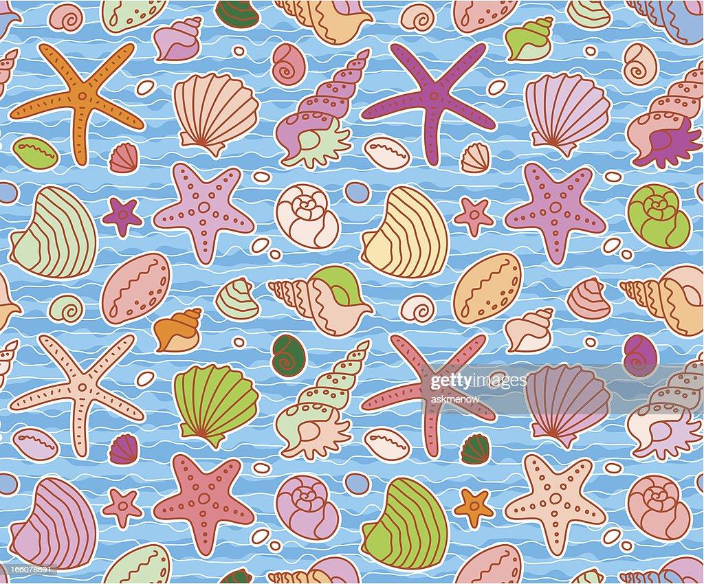 Seamless seashells pattern : Stock Illustration