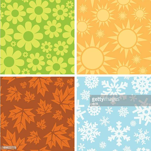 stockillustraties, clipart, cartoons en iconen met seamless seasonal patterns - seizoen