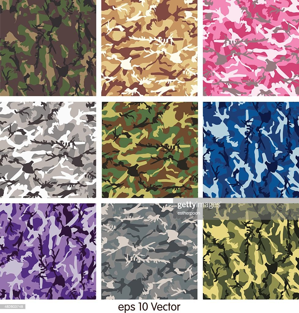 Seamless set of camouflage pattern vector