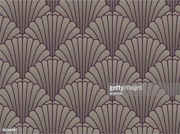 seamless shell wallpaper - art deco stock illustrations