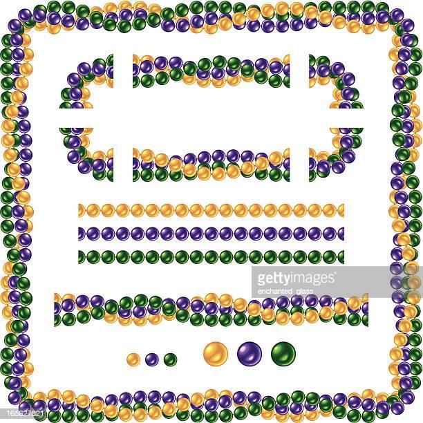 seamless shiny mardi gras necklace beads - bead stock illustrations