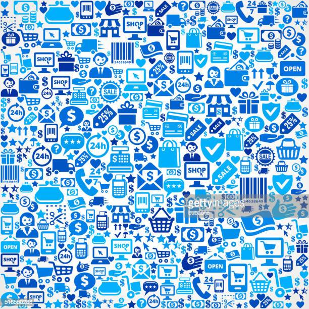 Seamless Shopping and Commerce Blue Icon Pattern