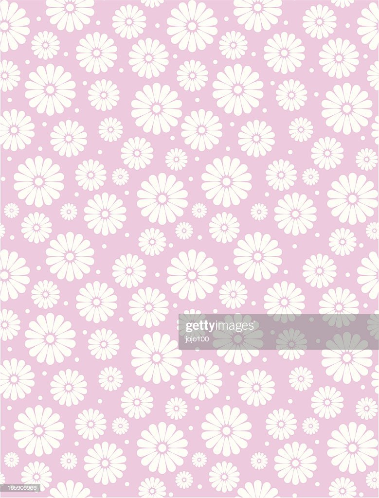 Seamless Simple Pink Daisy Polka Repeat Pattern