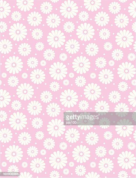 seamless simple pink daisy polka repeat pattern - pink background stock illustrations, clip art, cartoons, & icons