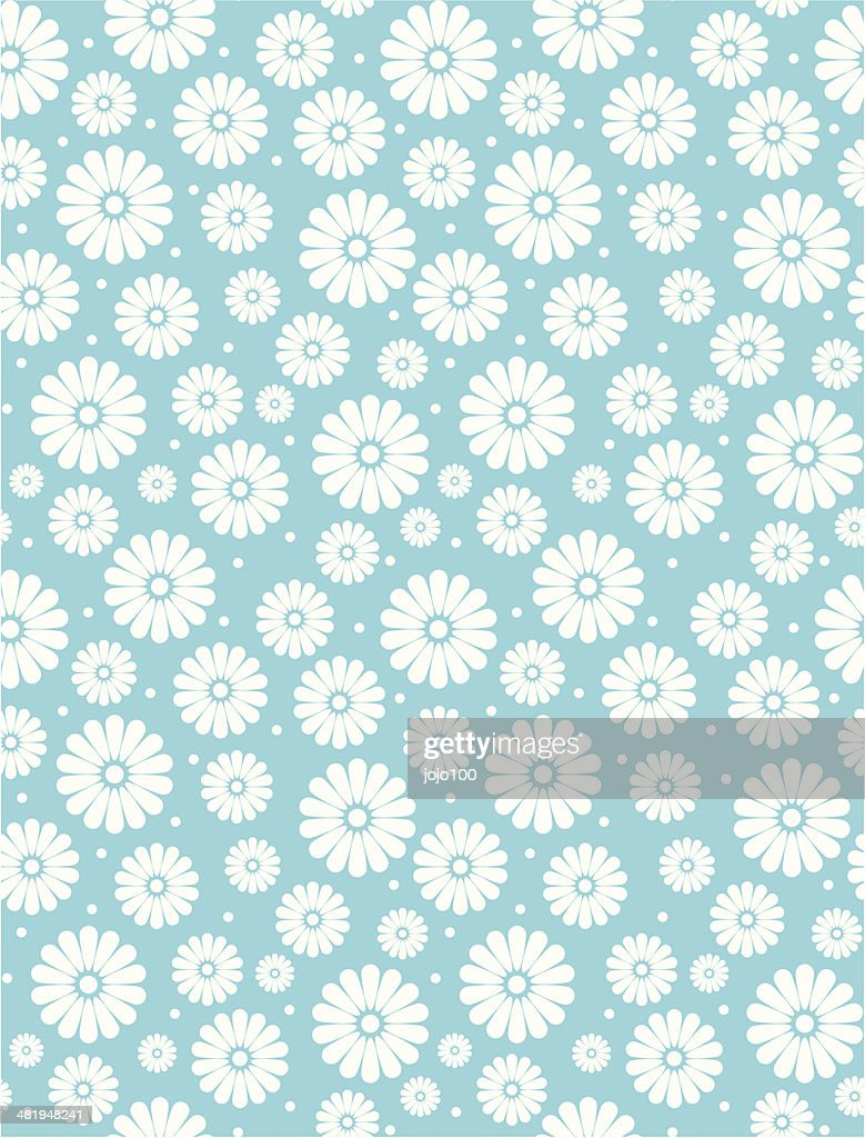 Seamless Simple Turquoise Daisy Polka Repeat Pattern