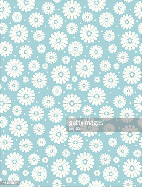 seamless simple turquoise daisy polka repeat pattern - daisy stock illustrations, clip art, cartoons, & icons
