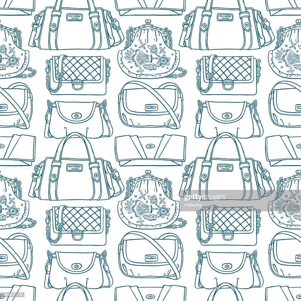seamless sketch blue handbags