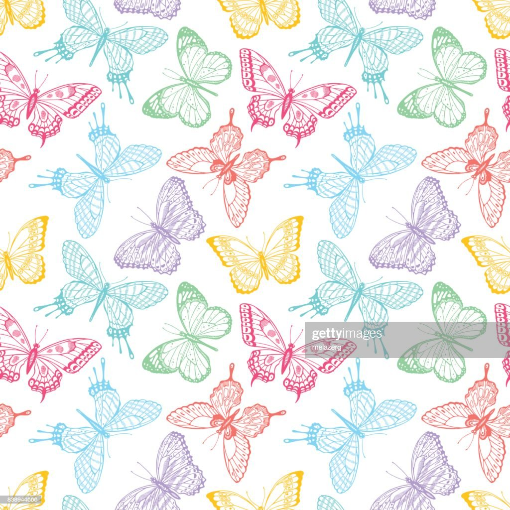 seamless sketch multicolored butterflies