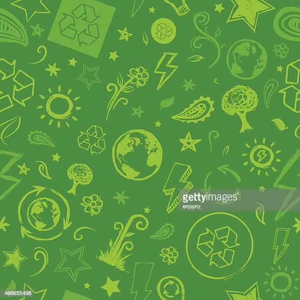 seamless sketched green eco background - recycling stock illustrations