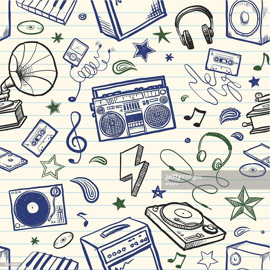Música de fondo sin costuras bocetos : Ilustración de stock