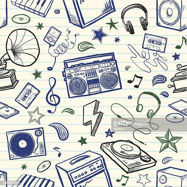 seamless sketchy music background - gramophone stock illustrations, clip art, cartoons, & icons