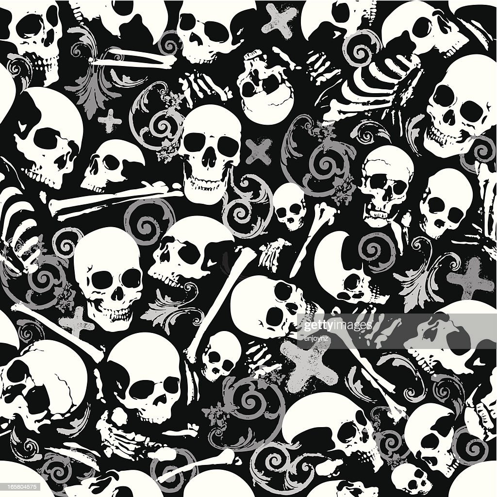 Seamless Skull And Bones Wallpaper Background High Res Vector Graphic Getty Images