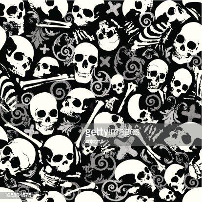 Seamless Skull And Bones Wallpaper Background Vector Art
