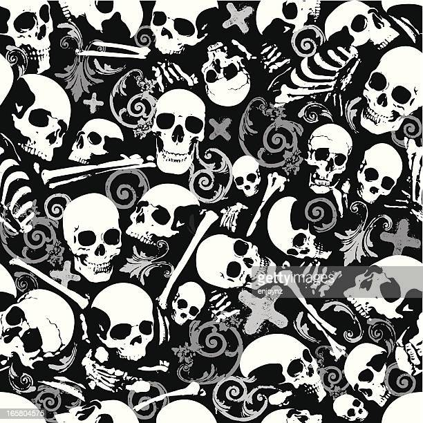 seamless skull and bones wallpaper background - bones stock illustrations, clip art, cartoons, & icons