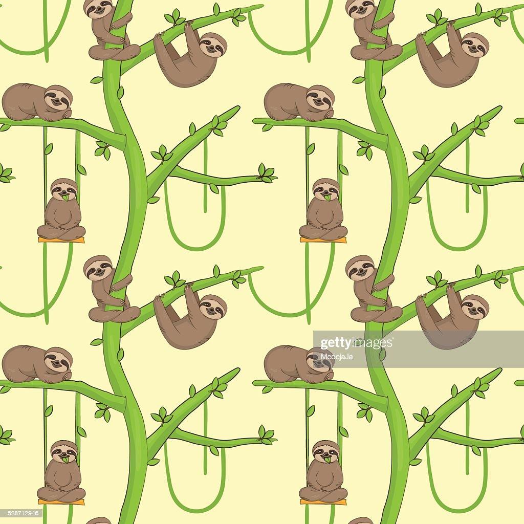 Seamless sloth on tree patern