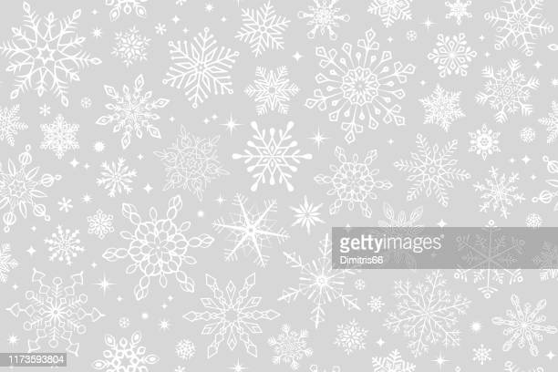 seamless snowflake background - backgrounds stock illustrations