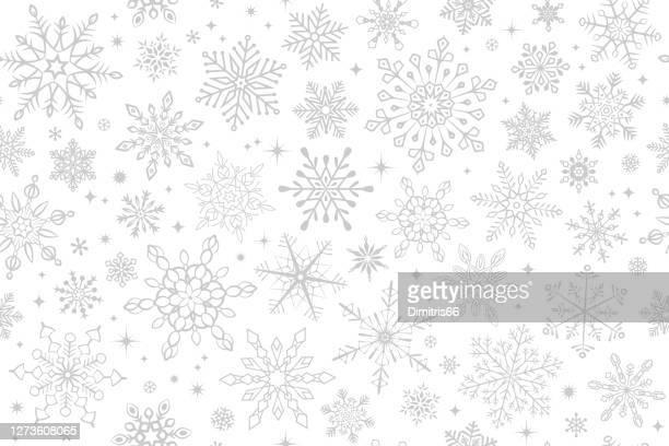 illustrazioni stock, clip art, cartoni animati e icone di tendenza di sfondo fiocco di neve senza cuciture - viraggio monocromo