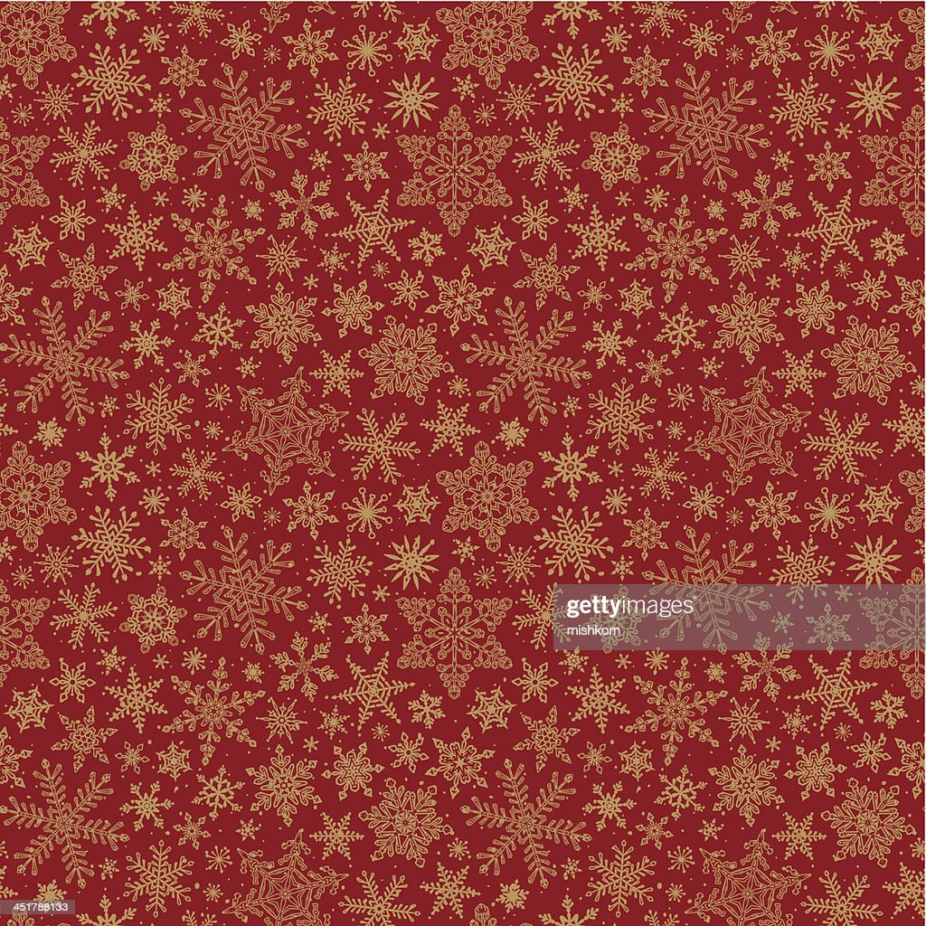 Seamless snowflake pattern on a red background