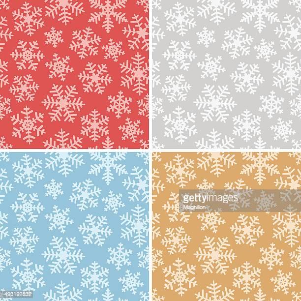 Seamless Snowflakes Background Set