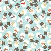 Seamless Snowman Party Holiday Pattern