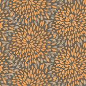 Seamless splattered fireworks pattern in orange and grey