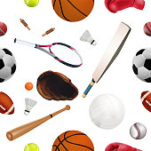 Seamless sport equipment pattern with balls. Creative realistic design isolated on white background.