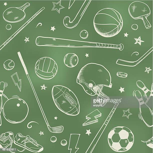 seamless sports background - sports equipment stock illustrations