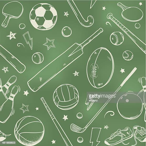 seamless sports equipment chalk drawings - team sport stock illustrations