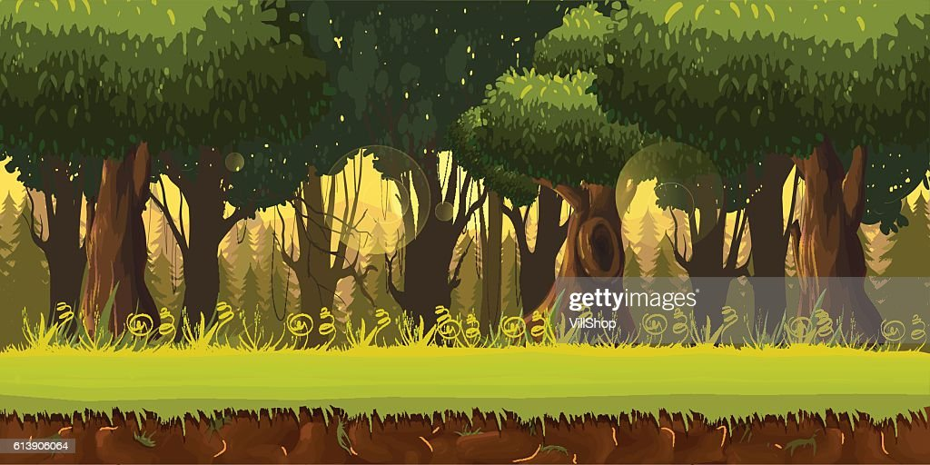 Seamless spring forest landscape, never ending vector nature background with