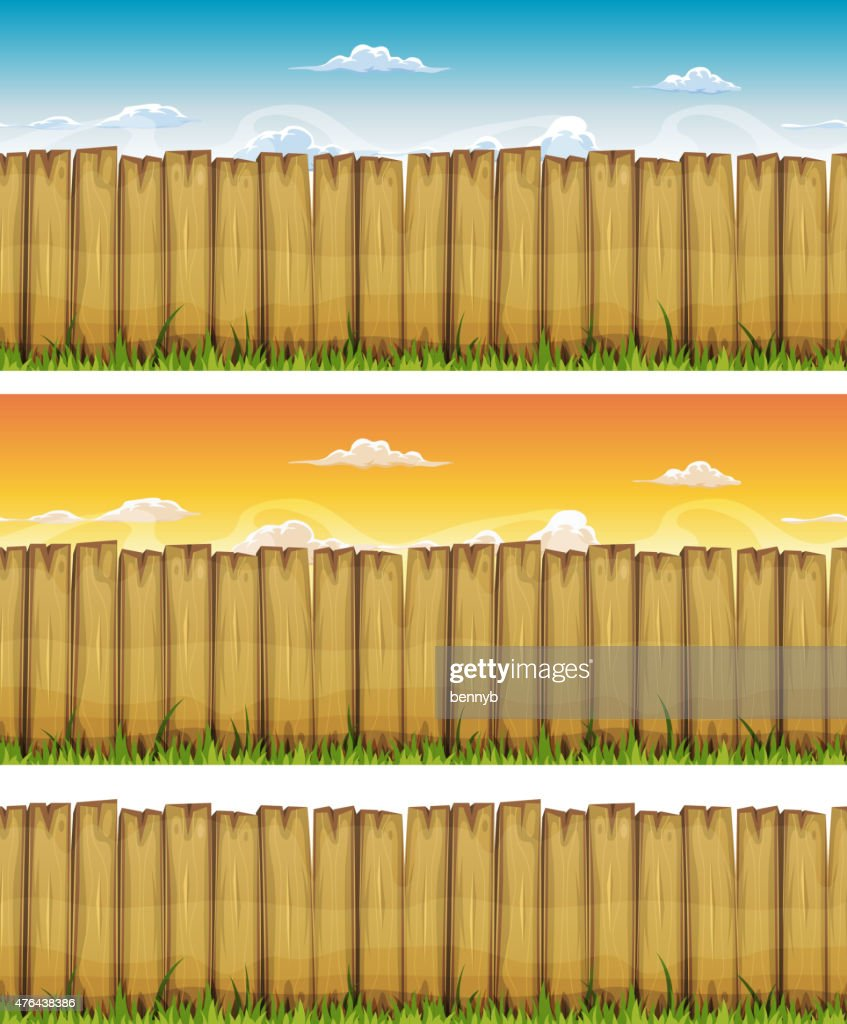 Seamless Spring Or Summer Wood Fence