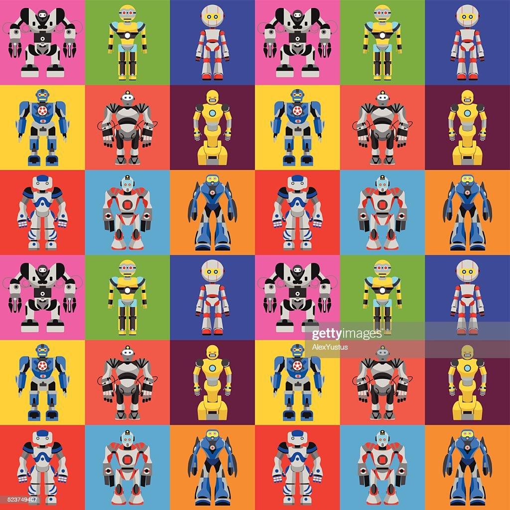 Seamless square robots pattern