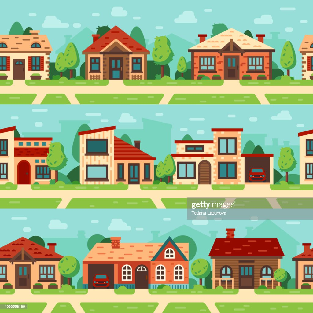 Seamless suburban houses. Panoramic cityscape with house exterior, buildings and town road flat vector background set