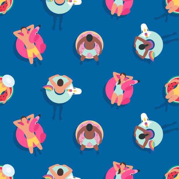 seamless summer background with people relaxing on inflatable rings - unicorn stock illustrations