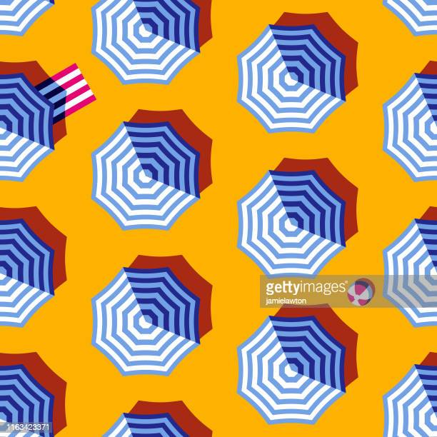 illustrazioni stock, clip art, cartoni animati e icone di tendenza di seamless summer beach umbrella pattern - summer