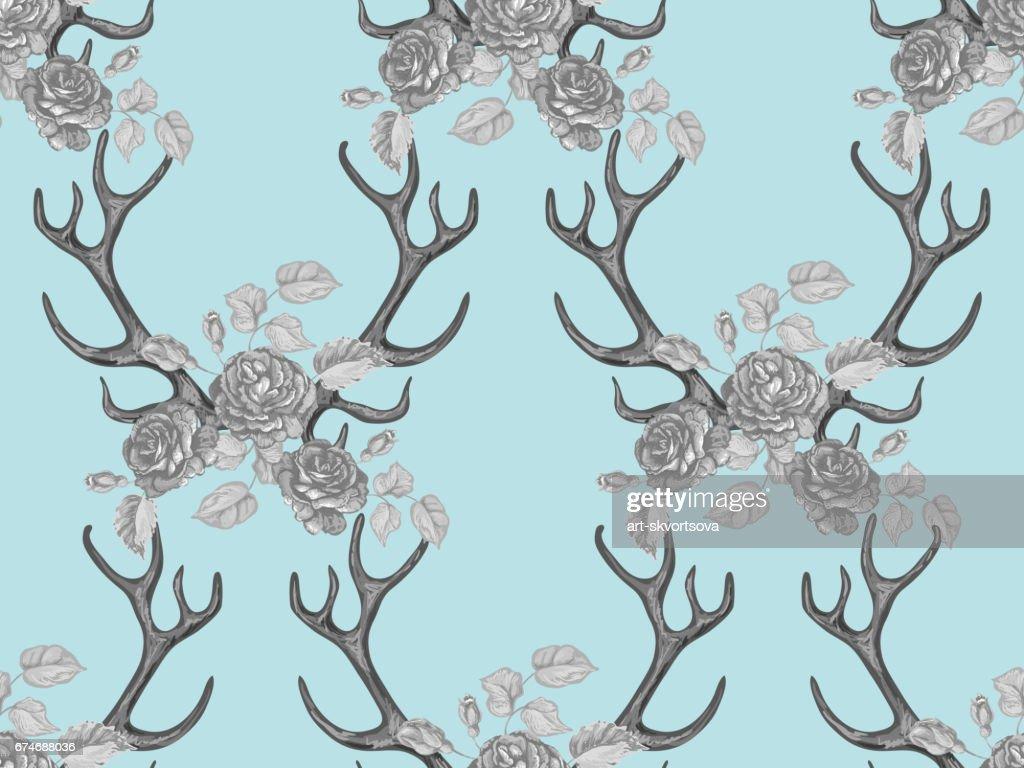 nahtlose sommer boho tribal mode muster mit dekorativen floralen hirschgeweih vector hintergrund perfekt fr tapete - Boho Muster