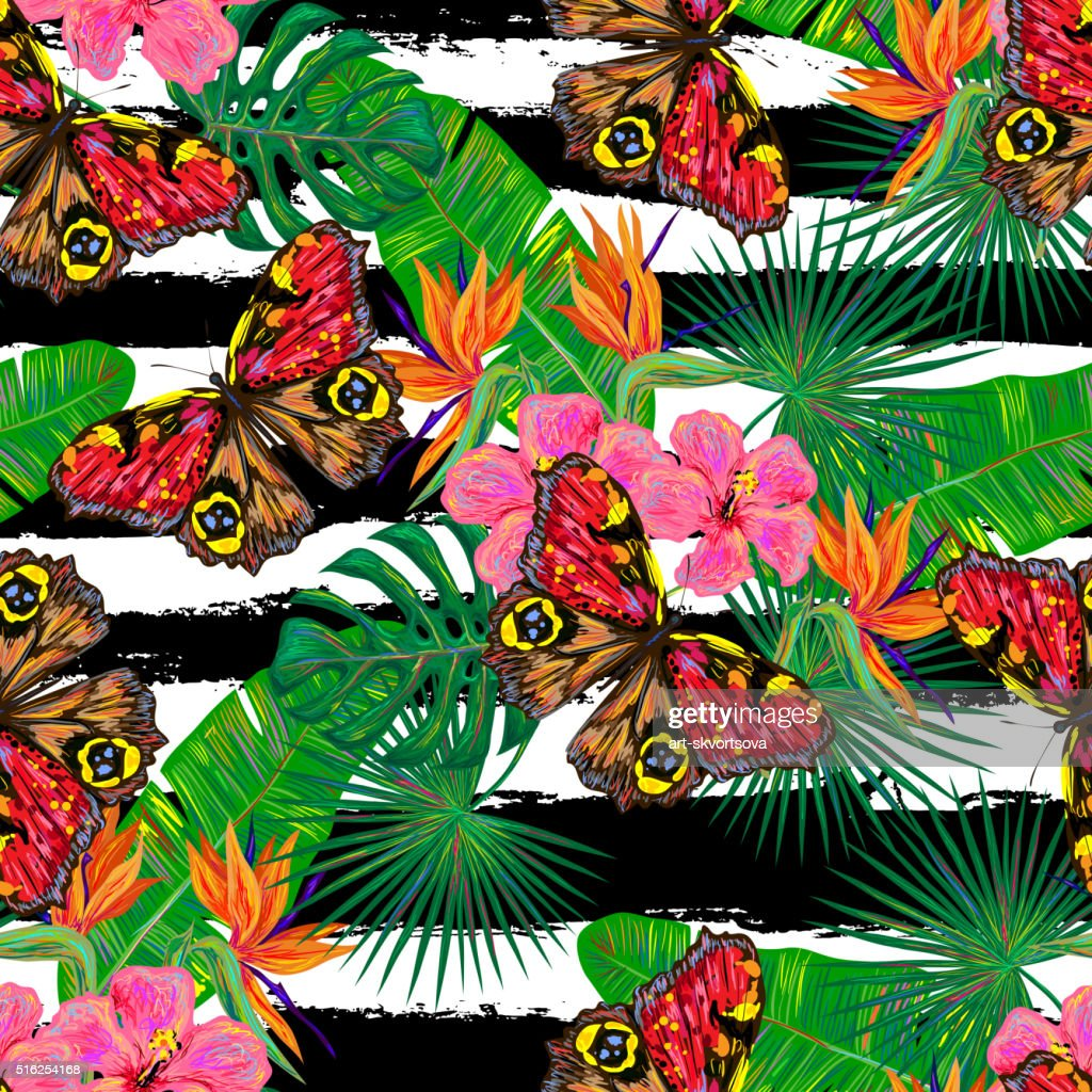 Seamless summer pattern with butterflies, flowers, leaves