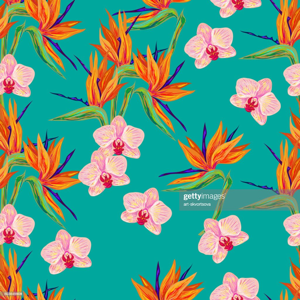 Seamless summer pattern with orchid and bird flower
