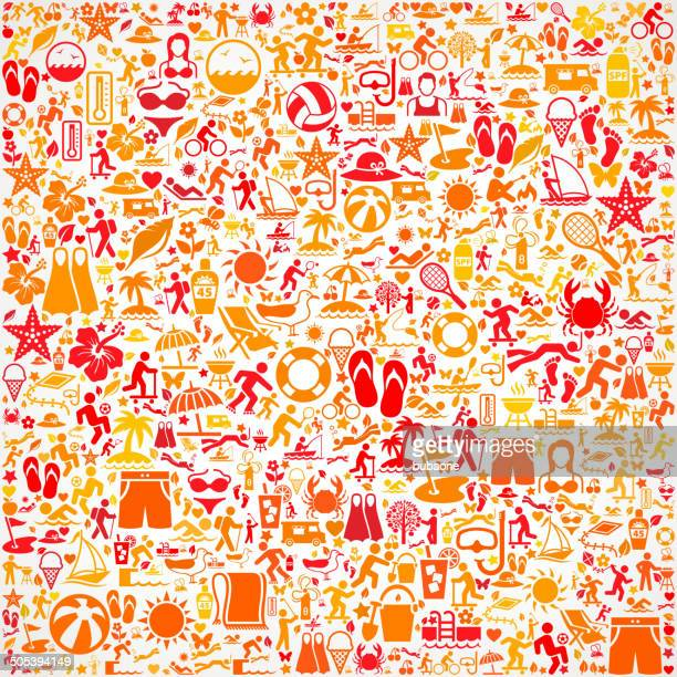 seamless summer royalty free vector art pattern - icon collage stock illustrations