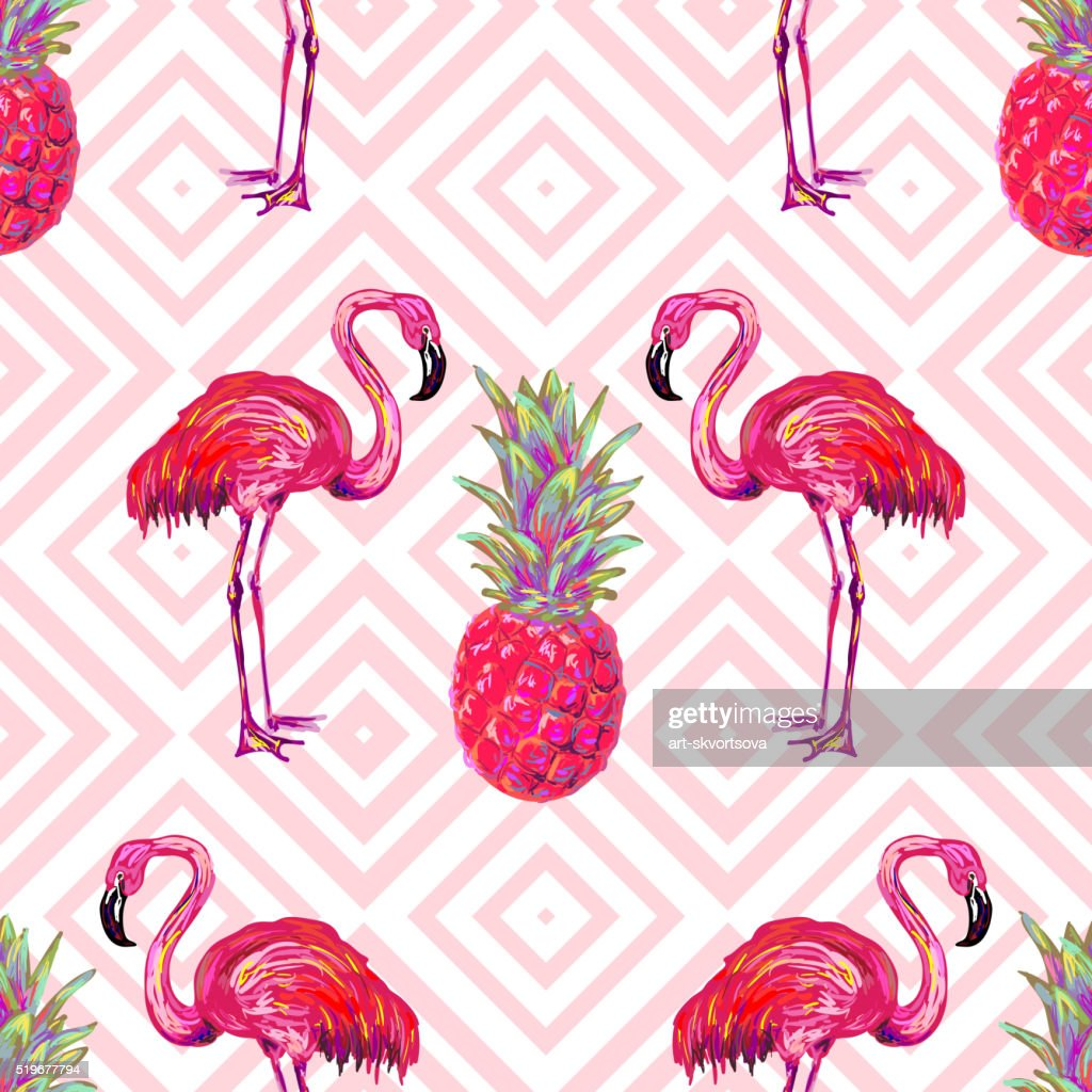 Seamless summer tropical pattern with flamingo and pineapple